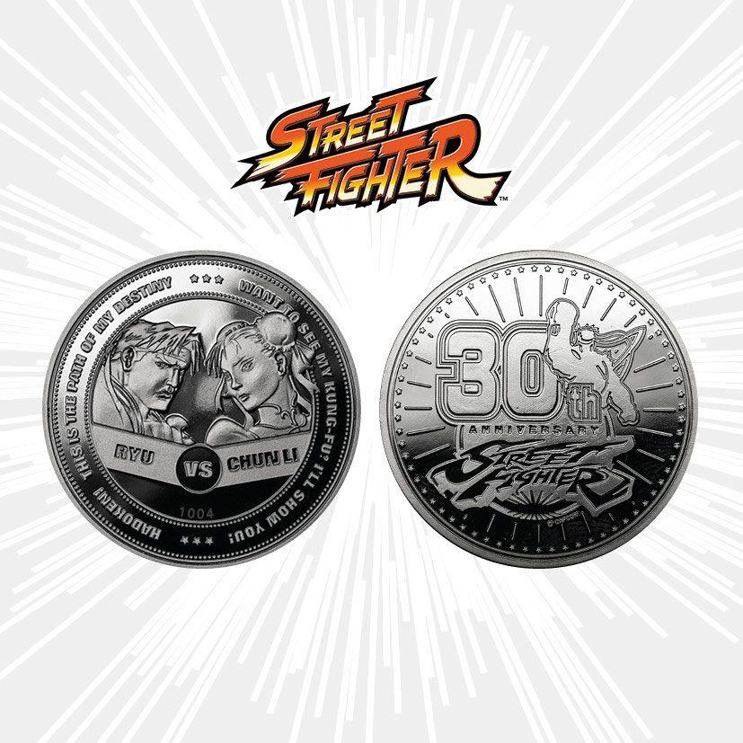 Street Fighter Collectable Coin 30th Anniversary Ryu vs Chun-Li (silver plated)