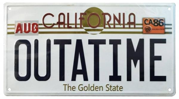 Back To The Future Metal Sign ´Outatime´ DeLorean License Plate - FaNaTik