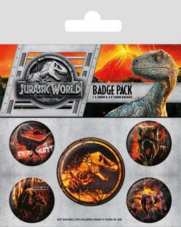 Jurassic World Fallen Kingdom Pin Badges 5-Pack