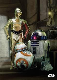 Star Wars Metal Poster Force Awakens Droids 32 x 45 cm